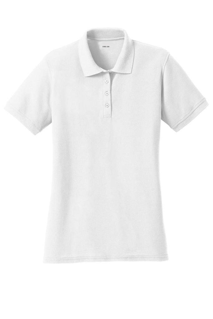 Joe's USA tm - Ladies Polo's 6.5-Ounce, Double Pique Knit Polo -White-S