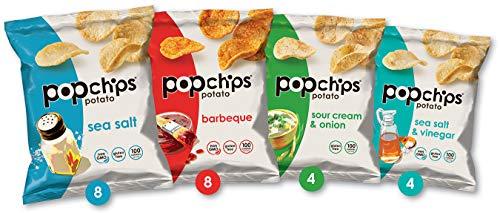 Popchips Potato Chips Variety Pack, Single Serve 0.8 Ounce Bags (Pack of 24), 4 Flavors: 8 Sea Salt, 8 BBQ, 4 Sour Cream & Onion, 4 Salt & Vinegar