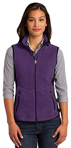Port Authority Ladies R-Tek Pro Fleece Full-Zip Vest, Purple Heather/ Black, Large