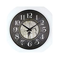 Living Room Wall Decoration Watch Warranty 3 Years Southeast Asia Style Decorative Silent Wall Clock for Home Decoration Gift,Style 3,16 inch