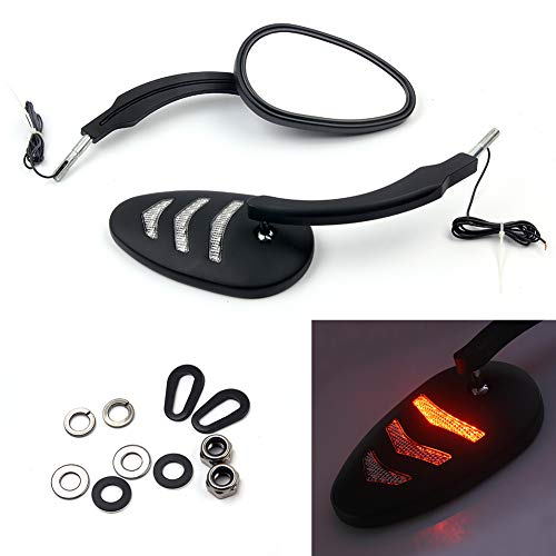 Triclicks Motorcycle Rear View Left Right Mirrors with LED Turn Signals Lights For Harley Davidson Road King Street Glide Dyna Bob FXDB FXDF (Black, Style 2) ()