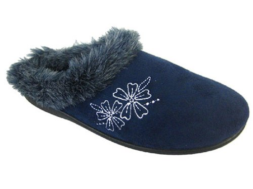 Womens Ladies Flower Slip On Mule Faux Fur Hard Sole Winter Warm Slipper NEW Blue Stha8KF5