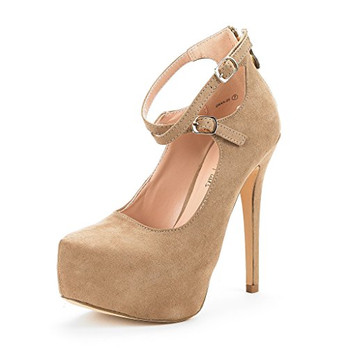 DREAM PAIRS Women's Swan-20 Nude High Heel Platform Pump Shoes - 10 M (Pump Wide Width Platform)