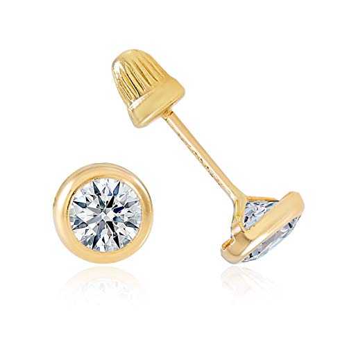 - 14K Gold CZ Stud Earrings for Women & Girls - Hypoallergenic for Sensitive Ears (Round Bezel, 4.00)