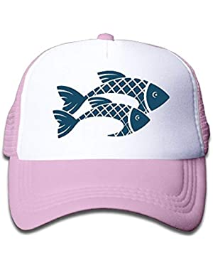 Two Fish Silhouette On Kids Trucker Hat, Youth Toddler Mesh Hats Baseball Cap
