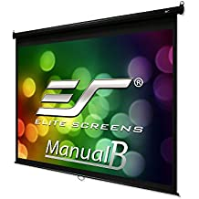 """Elite Screens Manual B, 120"""" 4:3, Manual Pull Down Projector Screen 4K / 3D Ready with Slow Retract Mechanism, 2 Year Warranty, M120V"""