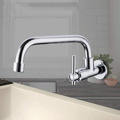 PATNICK Kitchen Faucet,Wall Mounted Mixers Kitchen Sink Tap 360 Degree Swivel Flexible Hose Single Hole