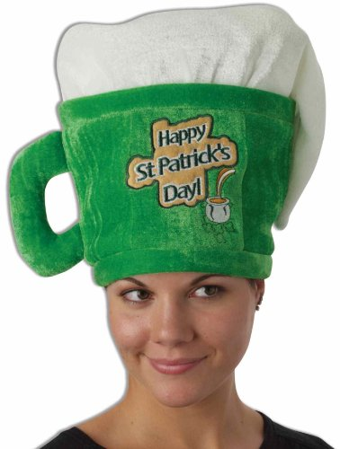 Forum Novelties St. Patrick's Day Costume Top Hat, Green/White Beer Mug, One Size