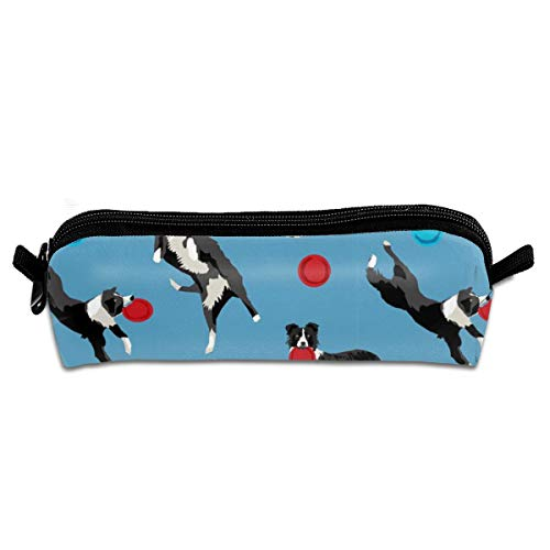 Pencil Case Border Collie Disc Dog - Agility, Border Collie, Black and White Border Collie Dog, Blue_217 Unisex Student Zipper Polyester Pen Box Stationery Bag Lightweight Storage Bags