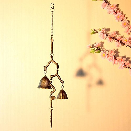 Branch Shaped Metal Wind Bells Japanese Style Decoration Bell Household Doorbell (Globe Shaped Magnet)