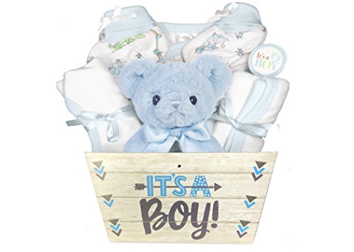 Baby Cupcake Gift Basket - Baby Gift Basket for a Boy - 8 Piece Teddy Bear Baby Shower Gift Set