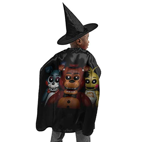 RGHDFFD72JFD9 Five Nights Bear-Freddy Unisex Kid 3D Printed Halloween Witch Set Cloak Cape Party Cosplay Fancy Dress Costume with Wizard Cap Hat ()