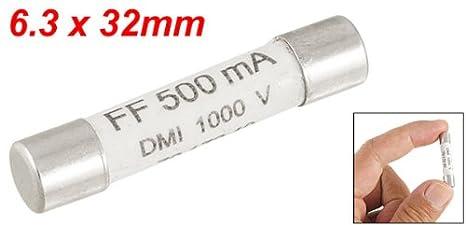Uxcell a11100700ux0177 1000V 500mA 6.3 x 32mm White Ceramic Fuse for Multimeter