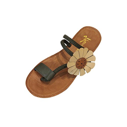 deslizamiento Moda sandalias LMMVP zapatillas Mujer Chanclas playa talón plana Verde anti flor zapatos Verano mujer aA8wqnUS