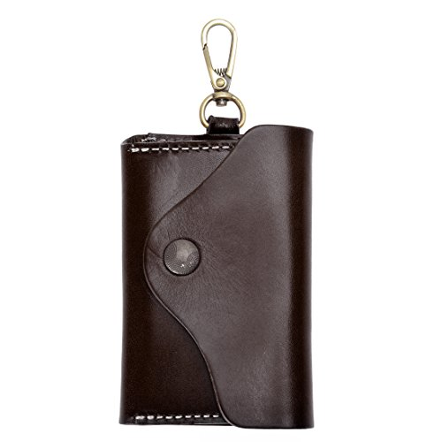 Unisex Handmade Leather Key Wallet Holder Card Case Key chain (Dark Coffee) from ZLYC