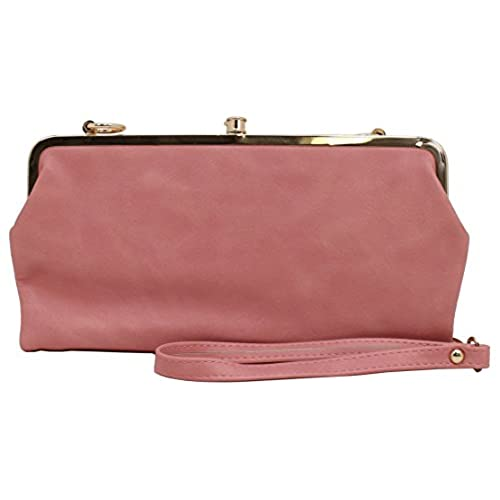 amyjoey faux leather double frame multi functional wallets clutch bags cross body bags pink plain - Double Frame Clutch Wallet