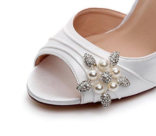 Luxveer Satijn Trouwschoenen Met Strik Op De Rug En Strass Middelhoge Hakken 3 Inch Bruids Schoenen Dames Schoenen Rs-2071 Ivoor