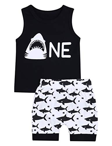 Baby Boy Clothes Shark and Doo Doo Print Summer Cotton Sleeveless Outfits Set Tops and Short Pants (2-3T) ()