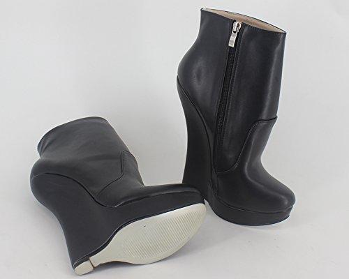 Wonderheel Keilabsatz black matt fetisch Kurzschaft stiefel wedge ankle boots