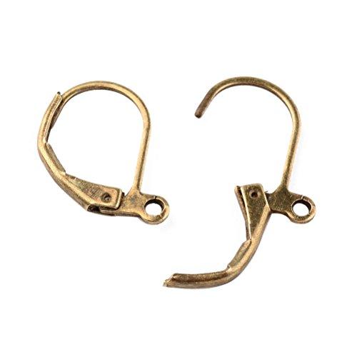 Bronze Hoop (Pandahall 10pcs Antique Bronze Brass Lever Back Hoop Earrings Dangles 15x10mm)