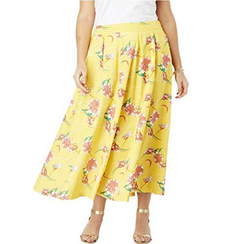 Jessica London Women's Plus Size Floral Skirt - Sunshine Yellow Iris Flower, 22 W