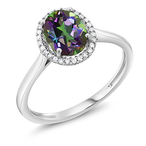 Gem Stone King 10K White Gold Diamond Halo Engagement Ring set with 1.30 Ct Oval Green Mystic Topaz (Size 6) ()