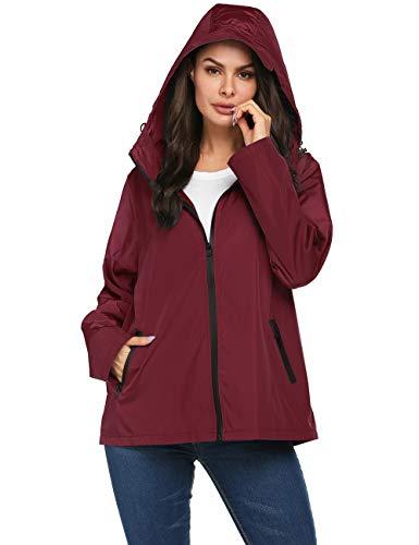 Avoogue Women's Short Lightweight Packable Raincoat with Back Zipper into One Bag,Waterproof Rain Jacket with Hood Reflective