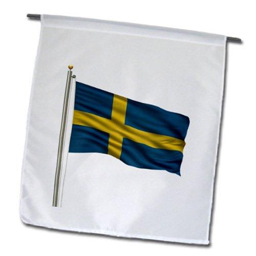 3dRose fl_157278_1 Flag of Sweden on A Flag Pole Over White Swedish Garden Flag, 12 by 18-Inch