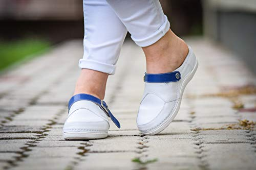 Lightweight White Leather Clogs Professional Comfort Nursing Blue Ankle Color STEPSO Women's Strap O6Hw0q10