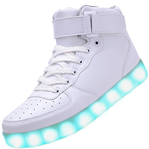 Odema Unisex LED Shoes High Top Light Up Sneakers for Women Men Girls Boys Size4.5-13 White