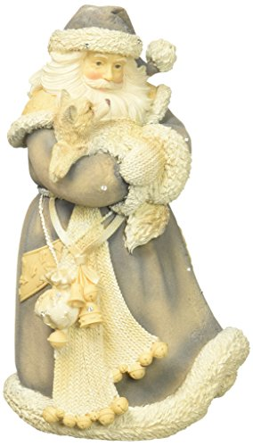 French Floral Robe - Foundations Santa with Fox Stone Resin Figurine, 7.75""