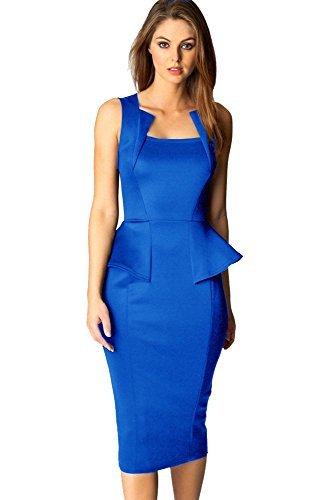 Made2envy - Vestido para mujer con cuello de corte cuadrado color azul de talla M