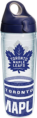 Toronto Maple Leafs Bottle - Tervis 1235157 NHL Toronto Maple Leafs Tumbler with Wrap and Navy with Gray Lid 24oz Water Bottle, Clear