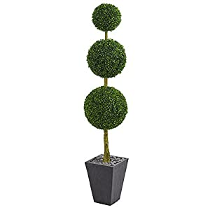 Nearly Natural Boxwood Triple Ball Topiary in Slate Planter 6' 6
