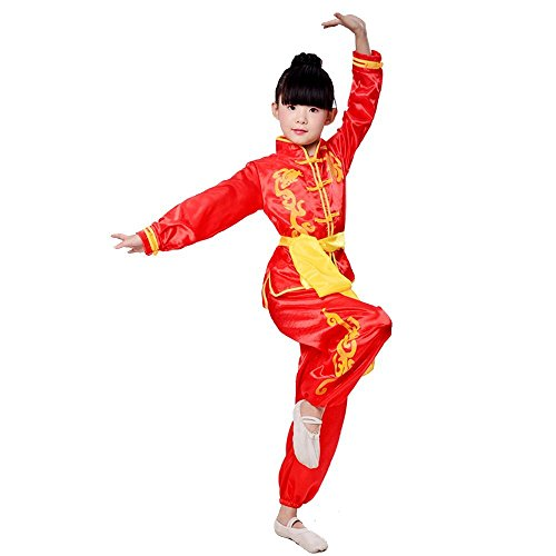 ZooBoo Karate Martial Arts Uniform - Nanquan Taekwondo Hapkido Sanda Chinese Kung Fu Wing Chun Training Clothes Apparel Clothing with Belt for Kids Boys Girls - Synthetic Silk (Height 160cm, Red)