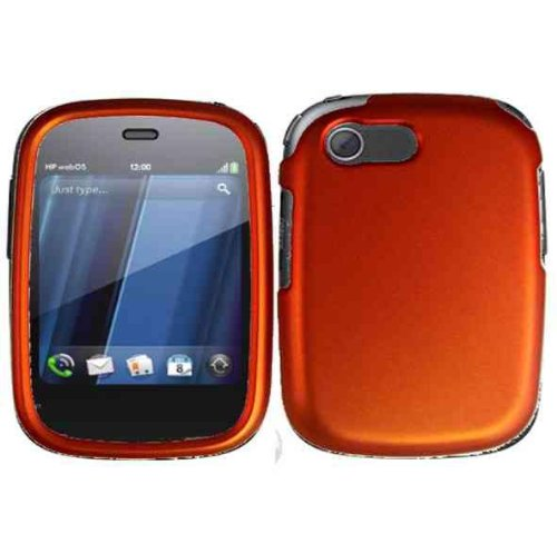 Orange Rubberized Snap on Protective Cover Case for HP Veer 4G + Microfiber Pouch Bag