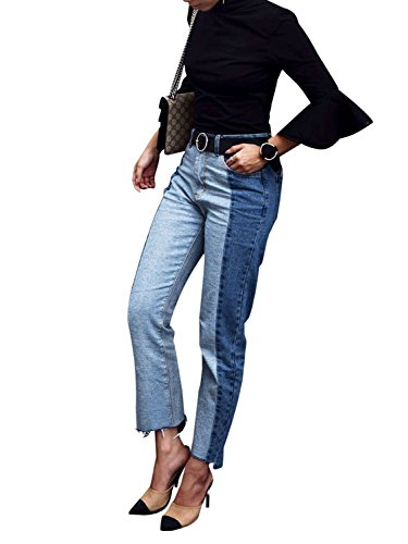 BerryGo Women's High Waist Ankle Length Skinny Slim Boyfriend Denim Jeans Pockets Blue Panelled Boyfriend Cut Jeans
