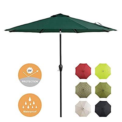 Tempera Patio Umbrella 9 Ft Outdoor Garden Table Umbrella with Push ButtonTilt and Crank 8 Ribs, Forest Green : Garden & Outdoor
