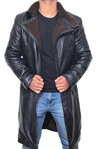 - Black Trench Coat Men - Black Long Shearling Jacket Coat for Men (M)