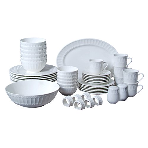 Gibson Everyday 61536.46RM Regalia 46-Piece Dinnerware and Serveware Set, - 46 Dinner Piece Set