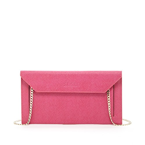 Hot Pink Envelope Clutch Purses For Women Saffiano Leather Purse and Clutches Cute Evening Bag Designer Handbags with Cross body Shoulder Long Chain Strap Bridal Dressy Bags Wedding Party Night Out