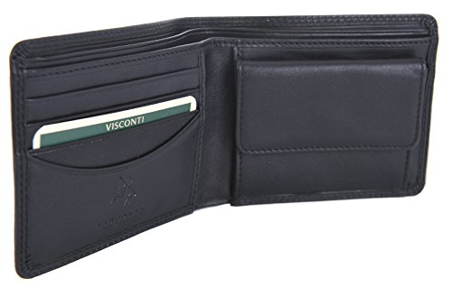amp; BIFOLD WALLET QUALITY PURSE SELLER COIN MENS LEATHER PROVEN BLACK HT7 VISCONTI BEST wYnAxqSS