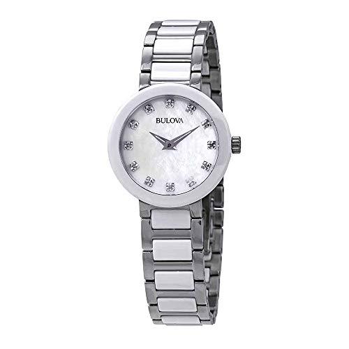 (Bulova Women's Analog-Quartz Watch with Stainless-Steel Strap, Silver, 14 (Model: 98P158))
