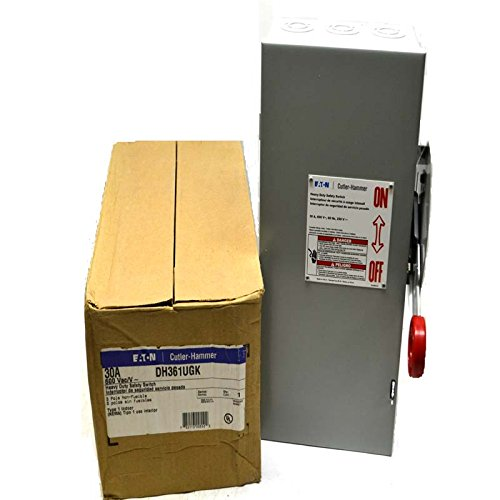 600v Safety Switch - Eaton DH361UGK 3 Wire 3 Pole Non-Fusible K Series Heavy-Duty Safety Switch 600 Volt AC 30 Amp NEMA 1