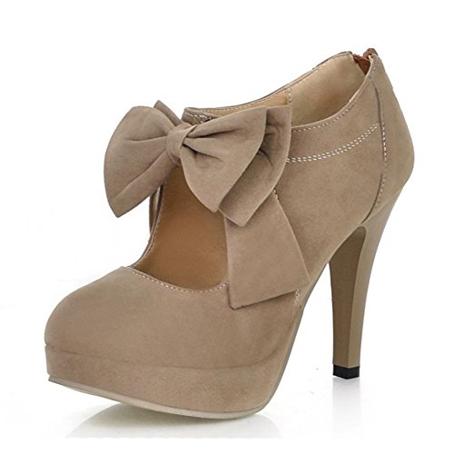 MORNISN Fashion Classic Platform Pumps for Women with Bowties Sexy High Heeled Back Zipper Shoes (Comfy Bow)