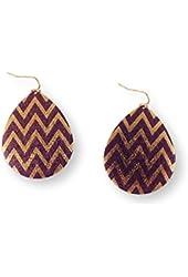 Fashion Earrings Dangle Purple Chevron on Gold Tone Metal