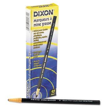 DIXON TICONDEROGA CO. China Marker, Black, Thin, Dozen