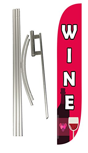 LookOurWay Wine Feather Flag Complete Set with Pole & Ground Spike by LookOurWay