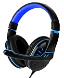 PC Gaming Headset, Fosmon 3.5mm Over the Ear Stereo Audio Wired Headphones with Microphone & Volume Control Remote for PC xBox PS4 Nintendo Switch (Black/Blue)