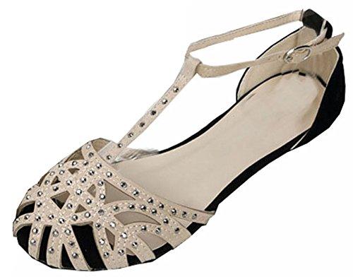 Heißer Verkauf nagelneue Mode Frauen 2015 flache Sandelholze Strass Ausschnitt Sommerschuhe Hochwertige offene Spitze Damen-Schuhe Aprikose